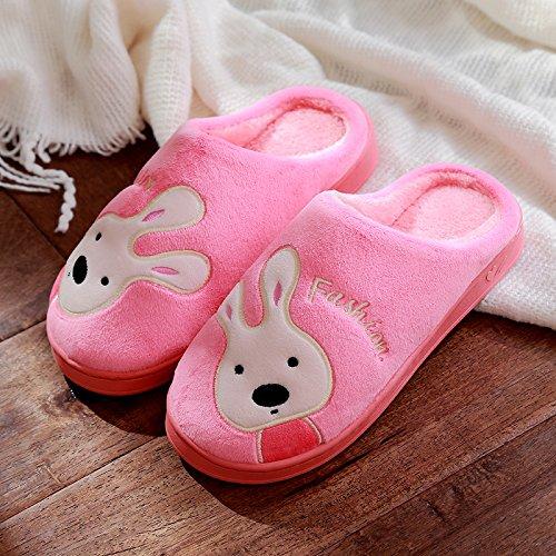 DogHaccd pantofole,Cartoon coppie di cotone di coniglio pantofole di casa bella casa interno anti-slittamento pantofole spessa caldo inverno. Rosa3