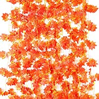 Amerisky Maple Leaves, 12 Pack Artificial Autumn Garland Silk Fall Maple Leaves Garland Hanging Plant for Wedding Party Home Garden Thanksgiving Festival Decorations(90 Feet)