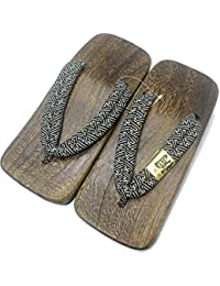 [Japon Made] Mens Geta Paulownia bois Sandals traditionnel Chaussures Noir de base de conception Taille L isDWArl