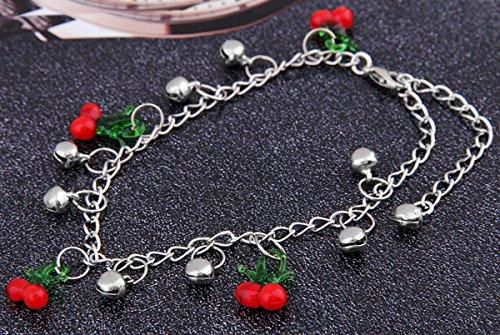 Skyllc® Bella Charms catena Cherry frutta in vetro murano gioielli braccialetto di caviglia a piedi nudi del sandalo Beach calzino del