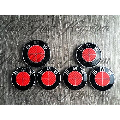 Completo Rojo Fibra de Carbono BMW–Emblema Insignia Overlay Trunk Llantas Única BMW