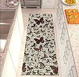 Chenille Butterfly Läufer Teppich Modernes Shabby Pfannen, hell und vielseitig, rutschfest mehrfarbig geeignet auch fü