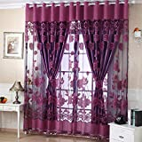"AFUT 2 Pieces Decorative Pattern Tulle Voile Door Curtains Window Curtain Tulle Panel Sheer Curtains Living Room Scarf Valances(1M/39.37""x 1.5M/59.05"")"
