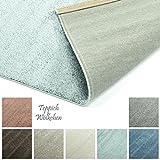 Designer-Teppich Pastell Kollektion | Flauschige Flachflor Teppiche fürs Wohnzimmer, Esszimmer, Schlafzimmer oder Kinderzimmer | Einfarbig, Schadstoffgeprüft (Mint Grün, 80 x 150 cm)