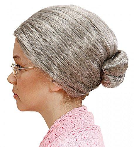 Graue Oma Perücke mit Dutt Greisin Alte Großmutter Omi Märchen Damen Haare (Perücken Alte Dame)