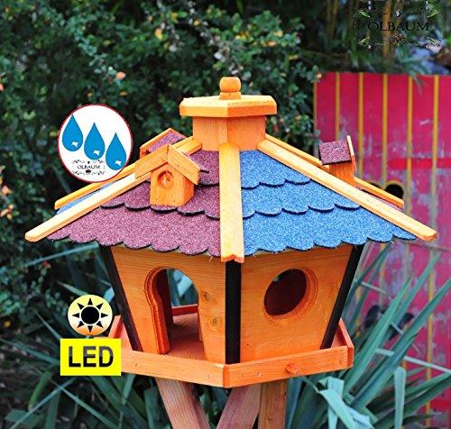 Futterhaus,Vogelhäuser wetterfest, mit Ständer Standfuß und Silo,Futtersilo für Winterfütterung mit Beleuchtung,Licht-LED -Holz Nistkästen & Vogelhäuser- ROT + BLAU E mit Ständer BRL60r-bEMS - 2