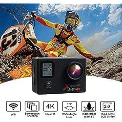 Campark ACT76 Camara Deportiva 4K WiFi 16MP Impermeable Cámara de Acción 170 Gran Angular con Control Remoto 2 Baterías con Múltiples Accesorios Kit