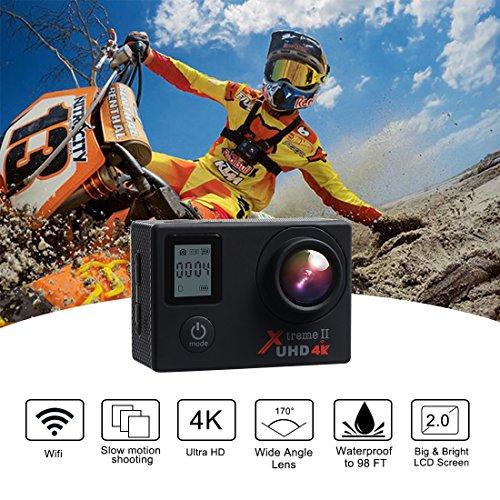 Galleria fotografica Campark ACT76 Action Cam 4K WIFI 16MP Ultra HD Sport Action Camera con Dual Screen Telecomando 170° Grandangolare due 1050mAh Batterie e Kit Accessori
