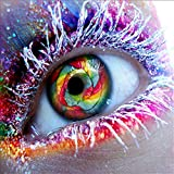 MXJSUA DIY 5D Diamond Painting by Number Kits Full Drill Rhinestone Embroidery Cross Stitch Pictures Arts Craft for Home Wall Decor,Colored Big Eye-10x10In
