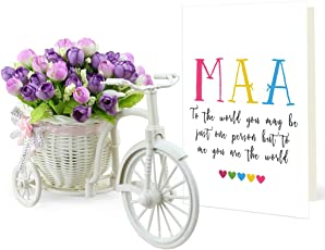 Tied Ribbons Gift for mom from Daughter Cycle vase with Artificial Flowers and Greeting Card