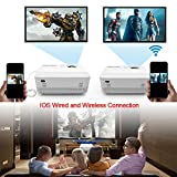 [WIFI Projector] POYANK 2000 Lumen LCD Projector, Wireless and Wired Connection with Smartphone Tablet Laptop, Video Projector Supports 1080P, Connection with TV Stick HDMI VGA USB Device, White.