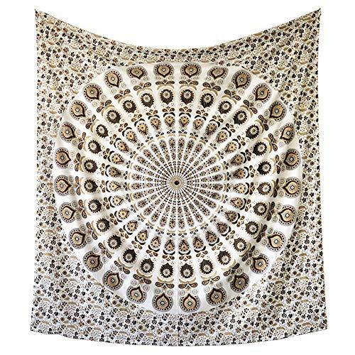 Chunlan Metallische Gold Wandteppich Wandbehang - Meditations-Yoga-Matte Teppiche werfen Medaillon werfen 230 × 210 cm / 90