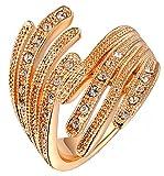 AnazoZ 18K Vergoldet Damen Hochzeit Bands Rose Gold Circle Runde Wing Ring 2.3X2.4CM Größe 54 (17.2) Eingraviert