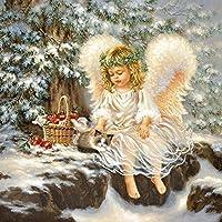 "ANGEL & CAT SNOW CHRISTMAS GREEN WHITE 13"" x 13"" 33CM X 33CM 20 X 3 PLY PAPER NAPKINS"