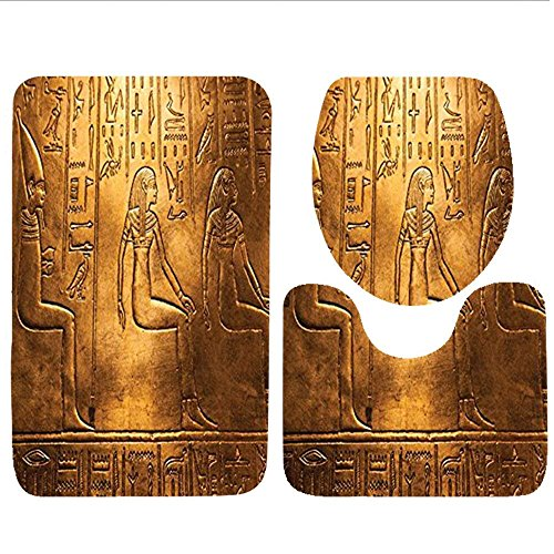 Bag hat Three-Piece Toilet seat pad customEgyptian Collection Egyptian Ancient Art Papyrus Depicting The Horus Eye Design Print Gainsboro Peru Navy Orange