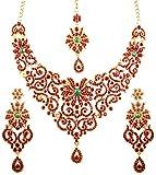 Touchstone Set di collana di gioielli da sposa di grande stile da sposa, con look reale tradizionale intagliato a filigrana color smeraldo, rubino smeraldo per donna Rosso