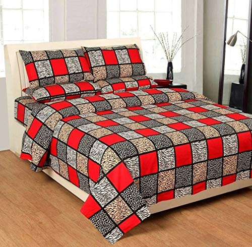 Shantnu Home Decor 3D Print Poly Cotton Double Bedsheet with 2 Pillow Cover (King Size, Multicolour)