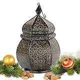 albena shop 71-4956 Orientalische Laterne orientalisches Windlicht Metall (Teja 35cm Schwarz/innen Gold)