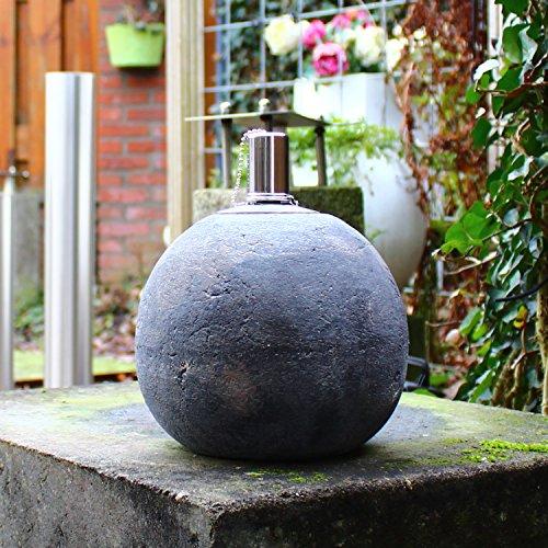 Dszapaci Outdoor Öllampe Stein Garten Fackel Öl Beton Feuerkugel Rund mit Docht Stein Gartendeko Terrasse Draussen Party Event (B1)