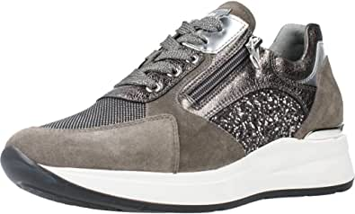NeroGiardini I013180D Velour Cemento Violey Sneakers Donna in Nabuk Grigio e Glitter Nero-Argento