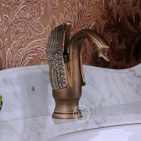 Deluxe Hahn Neue Antike Waschbecken Wasserhahn bad Küchenarmaturen tierische Form schwan Messing antik tippen Sie auf Tippen Sie auf Cooper Kostenloser Versand br (Br Küche)