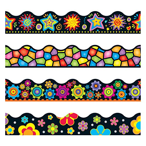 Trend Enterprises Brights on Black Scalloped Terrific Trimmers Variety Pack, 4 Designs, 156' (T-92919) by Trend Enterprises - Terrific Trimmer Variety Pack