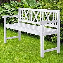Miadomodo - Banco de jardín blanco de madera de abeto