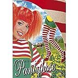 Strumpfhose rot-weiß Clown Fasching Damenstrumpfhose M/L 38 bis 44 Bunte Nylon Strumpfhosen Ringelstrumpfhose Karneval Accessoires Damen zweifarbige Schwestern Nylonstrumpfhose geringelte Krankenschwester Pantyhose