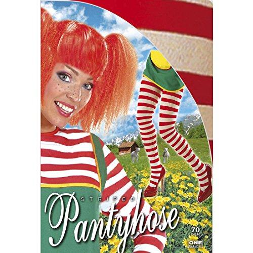 Preisvergleich Produktbild Strumpfhose rot-weiß Clown Fasching Damenstrumpfhose XL 46 / 48 Bunte Nylon Strumpfhosen Ringelstrumpfhose Karneval Accessoires Damen zweifarbige Schwestern Nylonstrumpfhose geringelte Krankenschwester Pantyhose