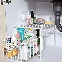 ZYHA sous l'évier Organisateur Rangement sous evier,Meuble de lavabo empilable,Organiseur avec Panier tiroir Coulissant…