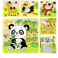 SIPLIV 3D Pittura a sei facciate Puzzle in legno 9 pezzi Jigsaw Puzzle con vassoio di stoccaggio per bambini dai 2 ai 5 anni, animali della foresta C