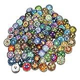 Soleebee Glas Aluminium Click Button fit 5.5mm-Knopfloch Schmuck Charms zufällig