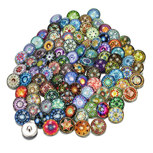 Soleebee Mixed Random Alloy Rhinestones 12mm Snap Buttons Jewelry Charms DIY Accessories Pack of 50