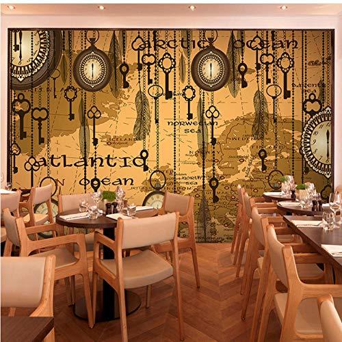 QThxqa Benutzerdefinierte 3d Retro Abstrakte Cafe Restaurant Zimmer Hintergrundbild Alte Taschenuhr Feder Tapete Wandbild