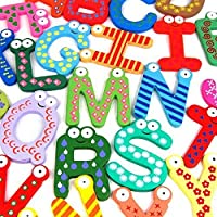 Prochive Wooden Alphabet Fridge Magnets Wooden Cartoon Colourful Letters DIY Educational Toys A-Z Alphabet Letter Fridge Magnet Decoration