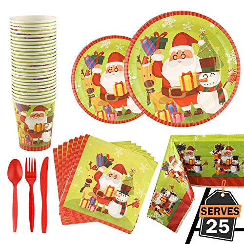 Kompanion 176 Piece Christmas Party Set Including Plates, Cups, Spoons, Forks, Knives, Napkins, and Tablecloth, Serves 25