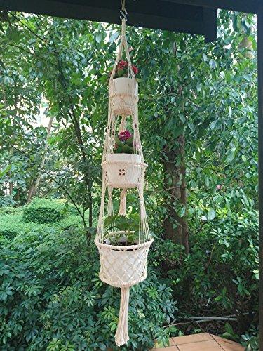 3Plattform Von 4Beine Makramee Pflanzenhänger & Plant Halter Baumwolle mit Bambus Ring innen natur beige Farbe mit Braun Holz Perle Dekoration, 59-inches Länge (ohne die Topf und (Perlen Lange)