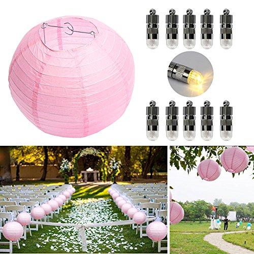 Dazone 10 Stücke Papierlaterne Rosa Lampion + 10er Warmweiße Mini LED Ballons Lichter, Rund Lampenschirm Hochtzeit Party Dekoration Papierlampen 8