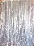 BalsaCircle 20 ft x 10 ft Silver Sequins Backdrop Curtain by BalsaCircle