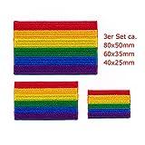 3 Regenbogen Flaggen LGBT Pride Gay Pride Flag Patch Aufnäher Aufbügler Set 1037