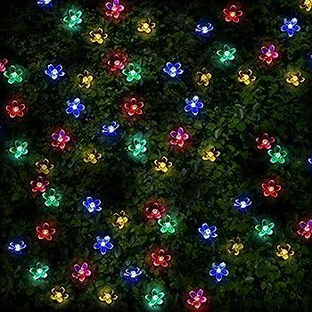 Guluman outdoor solar fairy led string lights christmas lights 200 100 multi colour led flower blossom solar powered fairy lights waterproof solar decoration string lights with built in night sensor for christmas aloadofball Choice Image