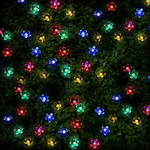 100 Multi-colour LED Flower Blossom Solar Powered Fairy Lights - Waterproof Solar Decoration String Lights with Built-in Night Sensor - for Christmas, Outdoor, Garden, Fence, Patio, Yard, Walkway, Driveway, Shed, Garage, Path, Ornament, Stairs and Outside