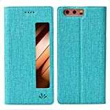 Feitenn Huawei P10 Hülle, dünne Premium PU Leder Flip Handy Schutzhülle mit dem Ansichtsfenster | TPU-Stoßstange, Magnetverschluss, Kameraschutz- und Standfunktion Brieftasche Etui (Blau)
