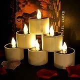 Conjunto de 6 velas solares Luz de té con velas LED sin llama con energía solar parpadeante Perfecto para Navidad, decoración