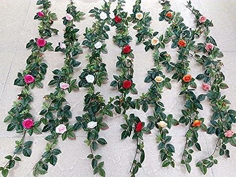 SU @ DA Décoration de mariage Vine Faux Fleurs Fleur en soie Home Mur végétal Long Rose Vine Simulation 1.6m/1.9m,