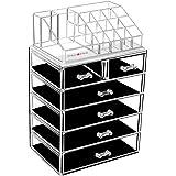 DreamGenius Makeup Organizer Acrylic Cosmetic with 6 Storage Drawers and Jewelry Display Box