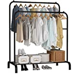 Lukzer Metal 1PC Garment Rack with Bottom Shelf/Coat Jacket Hanger for Home Bedroom Storage Organizer, Unique Display Stand (