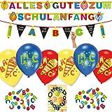 HHO Alles Gute Zum Schulanfang Partykette + Luftballons + Konfetti + beschriftbare Wimpel