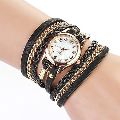 Lederarmband damen zum wickeln mit strass  Frauen Damen Uhr Weben Wickeln Niet Leder Armband Quarz Analog ...