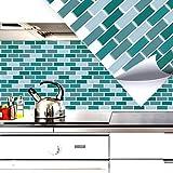 4 Set 27,9 x 23,4 cm Grandora Mosaïque 3D autocollant pour carrelage w5411 auto-adhésif cuisine salle de bain Stickers muraux Tuiles décoratives film menthe
